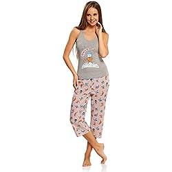 """oodji Ultra Mujer Pijama con Pantalones y Estampado """"Gato"""", Gris, ES 38 / S"""