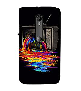 PrintVisa Color TV Fantasy Design 3D Hard Polycarbonate Designer Back Case Cover for Motorola Moto G3