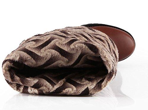 YE Damen Flache Overknee Langschaft Stiefel mit Schnallen und Reißverschluss Blockabsatz 3cm Absatz Boots Braun