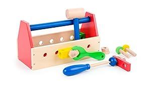 Small Foot Company Caja Herramientas de Madera Multicolor Fomenta la Motricidad Fina Juguete de Imitacion