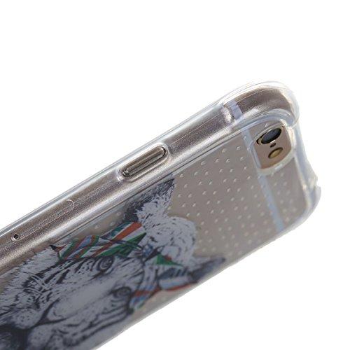 iPhone 6 Plus Silicone Case,iPhone 6S Plus Coque - Felfy Ultra Mince Flexible Transparent Soft Gel Case Cover Coque Etui Peint Beaux Motifs Style Protection TPU Case Cover (Fleurs Blanches) + 1 x Noir Tête de Tigre