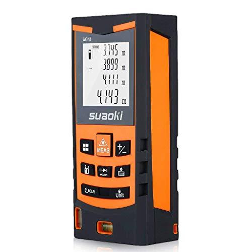 Suaoki S9 60m Laser-Entfernungsmesser, ±1,5mm Messgenauigkeit, Messung von Distanz, Flächen, Volumen, Laser Distanzmessgerät mit LCD Display Entfernungsmessergerät