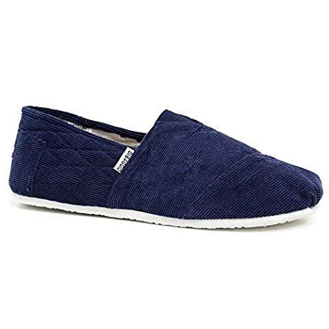 Di Baggio Men's Slip On Canvas Pumps Espadrille Beach Shoes (7 UK, Corduroy Navy)