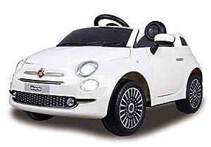 Jamara 460445 Ride-on Fiat 500 Blanco 12V-Arranque Suave sin Llave, MicroSD, AUX, USB, Faro LED, Ruidos, Claxon, 2 Motores, Batería Potente, Ruedas Ultra-Grip, Color