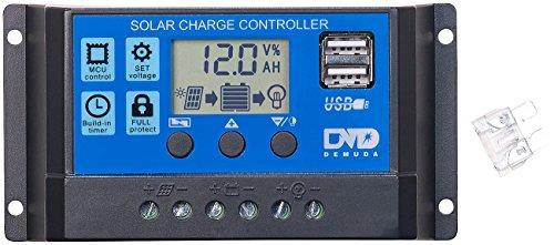 reVolt Solar Controller: Solar-Laderegler für 12/24-V-Akkus, PWM-Lademodus, 2 USB-Ports, 10 A (Laderegler 12V)