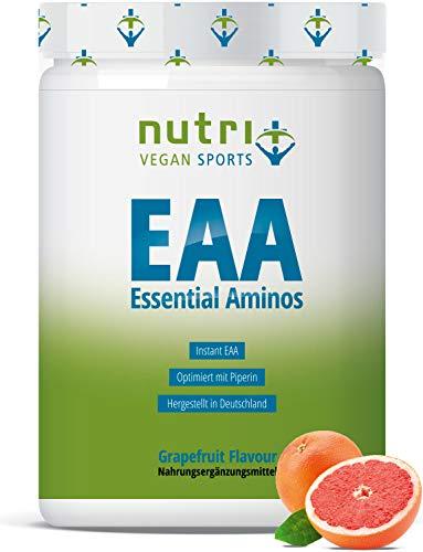 EAA PULVER Vegan 500g | HÖCHSTE DOSIERUNG | alle essentielle Aminosäuren | Grapefruit Geschmack - Instant EAAs | Hergestellt in Deutschland | Nutri-Plus Sports | Essential Aminos