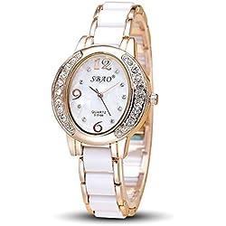 OUMOSI Ladies Crystal Quartz Watch Casual Oval Dial Imitation Ceramic Wristwatch