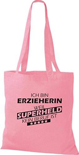 Shirtstown Stoffbeutel Ich bin Erzieherin, weil Superheld kein Beruf ist Farbe rosa (Rosa Superheld)
