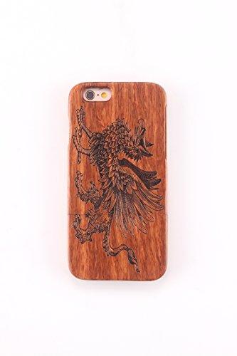 Coque iPhone 6/6s Plus Anti Choc Case en Bois Naturel Forepin® Réel Etui Couvert et Housse en Wood Dur dans Motif de Sculpté élégante Protecteur pour iPhone 6/6s Plus (Boussole) Licorne
