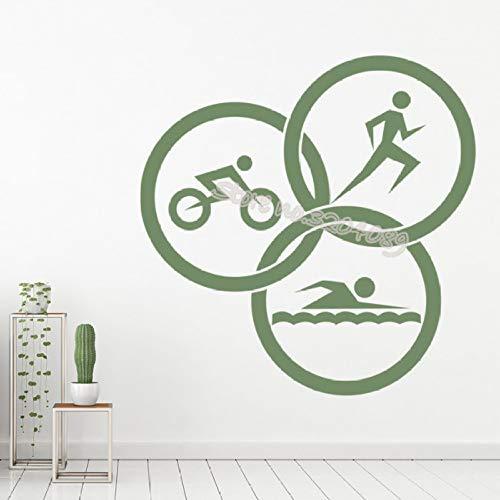 woyaofal Triathlon Motto Wandaufkleber Laufen Schwimmen Radfahren Kreise Leichtathletik Spiel Gym Sport Aufkleber Art Decor Removable 84x84cm