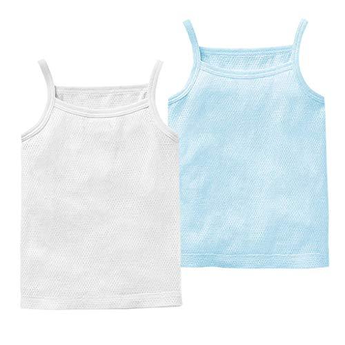 Baby Jungen Mädchen Unterhemd, 2er Pack Unterwäsche Baumwolle Hemd ohne Arm Mesh Schlafanzug Weiß+Blau 12-18 Monate -