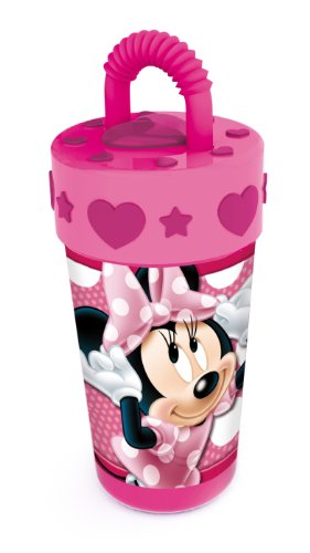 Joy Toy 736531 - Disney Minnie Trinkbecher, mit Strohhalm und 3d-Deckel, 400 ml