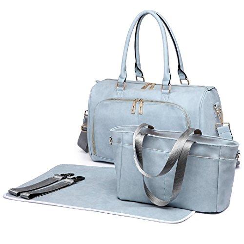 Miss LuLu 3 Stück Baby Windel Windel Wickeltasche Set mit Schnellen Handtasche PU-Leder (6638-BU)