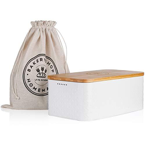 LARS NYSØM Brotkasten Crumb I Brotdose in hellgrau mit inkludiertem Brotsack aus Leinen für langanhaltende Frische I Brotbox mit hochwertigem Bambusdeckel verwendbar als Schneidebrett I 33x19x12 cm