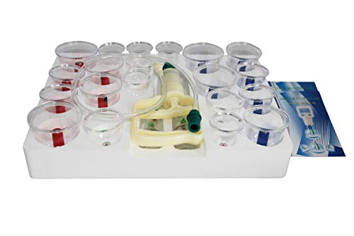Massage Schröpfen Set mit Schröpfgläser aus Kunststoff mit Magneten + Vakuumpumpe (24-Set)