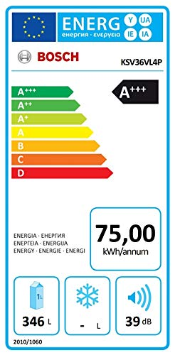 Bosch KSV36VL4P Serie 4 Freistehender Kühlschrank / A+++ / 186 cm / 75 kWh/Jahr / Inox-look / 346 L / VitaFresh…