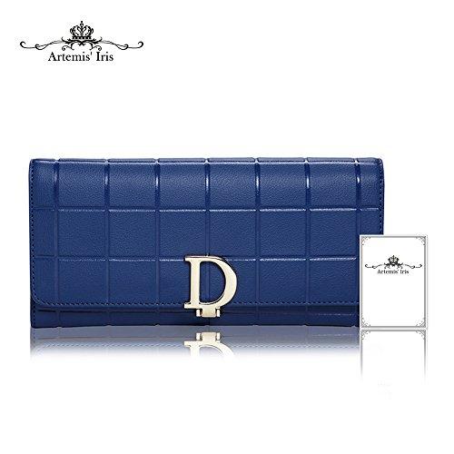 Artemis'Iris Moda Donna D-Type Agraffe Portafoglio a quadri cuoio della carta di grande capacità elegante Holder Coin Organizer borsa lunga, grigio blue