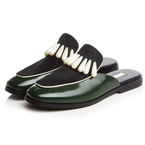 Vogstyle Donna Estate Scarpe Retro Mezza Pantofole Cuoio Piano Sandali Stile 1-Verde