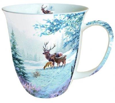 Ambiente Becher - Mug - Tasse - Tee/Kaffee Becher Deer Family - Hirschfamilie - REH - Wald - Winter - Weihnachten ca. 0.4L