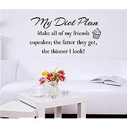 wandaufkleber grau Mein Diät-Plan Machen Sie alle meine Freunde Cupcakes Je dicker sie bekommen, desto dünner ich koche für die Küche Esszimmer