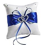 Fafalloagrron Coussin romantique double cœur en satin avec nœud pour décoration de fête 10 x 10 cm 3.94x3.94in bleu