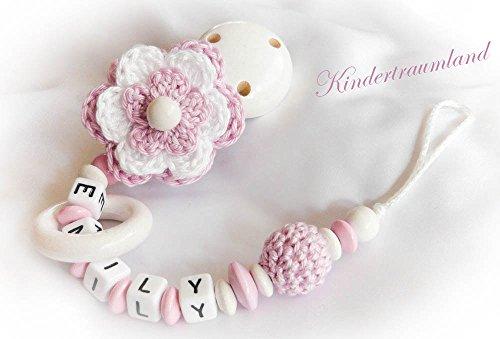 Preisvergleich Produktbild Schnullerkette mit Namen - Mädchen - Häkelblume (Weiß, Rosé)