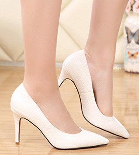 Aisun Damen Klassisch Krokodil-Muster High Heels Stilettos Spitz Schuhe Weiß