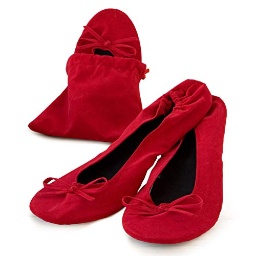 Mopec Zapatillas Bailarinas Terciopelo Rojo Bolsa