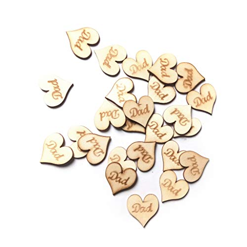 Rustikale Holz-tabellen (CADANIA 25 Stück Rustikale Holz Herz Papa Tabelle Scatter Dekoration Ornamente Handwerk DIY)