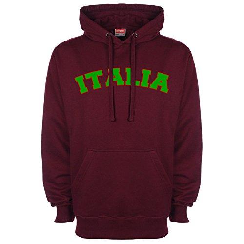 Italia tifoso calcio Sports-Felpa con cappuccio Borgogna