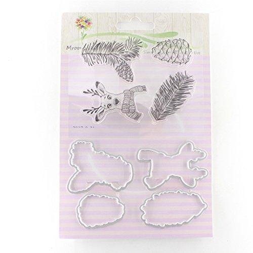 ECMQS Hirsch DIY Transparente Briefmarke+ Stanzmaschine Stanzschablone, Silikon Stempel Set, Clear Stamps, Schneiden Schablonen, Bastelei Scrapbooking-Werkzeug
