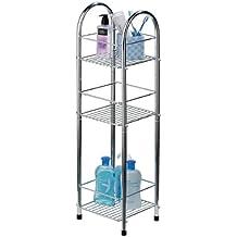 Premier Housewares Mobiletto a 3 mensole per il bagno in metallo cromato, 81 x 23 x 23 cm