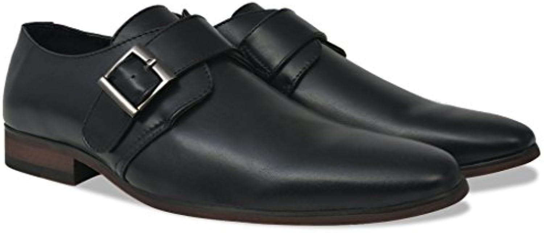 Festnight Herren Monkschuhe Schnallenschuhe aus PU Leder Männer Monk Schuhe Herrenschuhe Niedriger Knöchel Schwarz