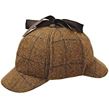 553e36616f9 D H DH Gents 100% Wolle Country Tweed Sherlock Holmes Schlapphut Jagd Drop  Ohren