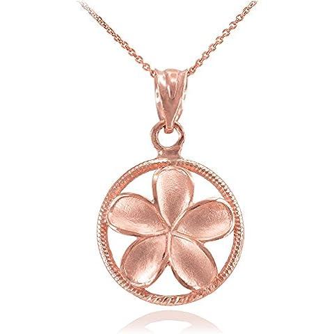 Donne Collana Pendente 10 Ct Rosa Oro Cordata Circolo Hawaiano Plumeria Fiore Fascino (Viene Fornito Con Una Catena Da 45cm)