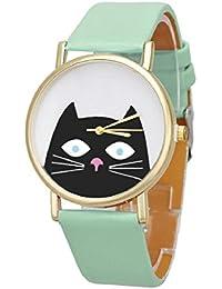 Culater® Cat Mujeres del análogo de cuarzo Dial reloj de pulsera (Verde)