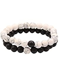 Bracciali Distanza coppia per gli amanti-2pcs alone nero agata & White Howlite Beads 8mm By UEUC