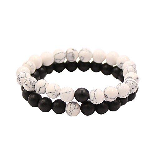 *Paar Distanz Armbänder für Liebhaber-2 Stück Schwarz Matte Achat & Weiß Howlite 8mm Perlen von UEUC (Black Matte Achat)*