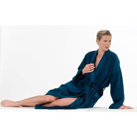 Buscher 20118-321-XL - Albornoz (tipo kimono, talla XL, algodón, 400 g/m2), color azul