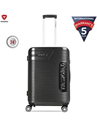 Traworld Booster Premium ABS Polycarbonate 66cm Dark Gray Hardside 8 Wheels Spinner Travel Trolley Luggage Suitcase with Built-in TSA Lock
