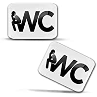 SkinoEu® 2 x 3D Gel Silicona Stickers Pegatinas Adhesivo Señales Etiqueta para Baño Aseos Signo Placa Puerta WC Señalización Muestra del Tocador Decoracion para Casa KS 167
