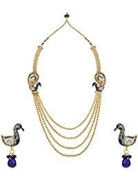 Dancing Girl Antique Bridal Blue Metal Alloy Jewellery Set With Necklace And Earring For Women