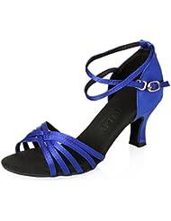 APTRO Chaussures Femme Latines en Satin Chaussure de Rumba/Cha-cha-cha/Samba/Jive/Corrida/Danse de Salon/Danse moderne Légères Équilibrées Résistance au Frottement à Haut Talon