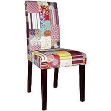 SIT-Möbel 4717-30 - Juego de dos sillas tapizadas de 100% PES, patas de pino colonial, patchwork de terciopelo, 20,000 rozaduras