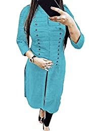 Fkart Women's Cotton Blue Stitched Stylish Party Wear Blue Selfi Kurti (blue_xxl)