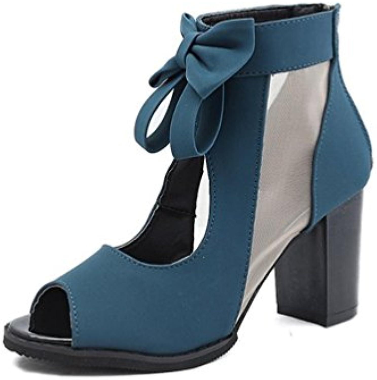 JITIAN JITIAN JITIAN  s Talons Hauts Carrés Chaussure Peep-Toe Nœud Bottes Été Fil Net Élégant   FemmeB07CTKXC3XParent 3f2e5b