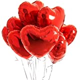 GRAND SHOP Heart Shape Foil Balloon Pack of 5 Red