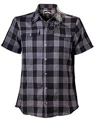 Jack Daniels Hemd Old No.7 Logo Black/Grey Checks Shirt kariertes Hemd Kurzarm