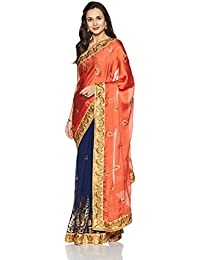 Womanista Women's Faux Satin & Georgette Sari With Blouse Piece(FS9069_Orange And Blue_Free Size)