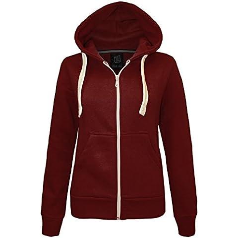 NEW WOMEN tinta unita con cerniera felpe sudore-shirt JUMPER 2 tasca pile da donna giacca con cappuccio TOP taglia 8-34